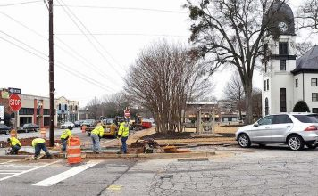 Work has begun to create more parking in the area of the old county courthouse on the square in Fayetteville. Photo/City of Fayetteville.