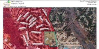 Map of proposed annexation of 46 acres on Peachtree City's southern border. Graphic/City of Peachtree City.