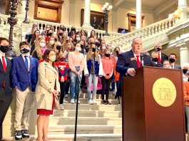 Dozens of student athletes in Georgia girls' sports joined state Rep. Phillip Singleton (at podium) to support his bill banning transgender participation on Feb. 4, 2021. Photo/Beau Evans of Capitol Beat.