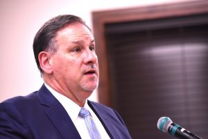 Peachtree City Attorney Ted Meeker defends city position in billboard permit denial appeal. Photo/Cal Beverly.