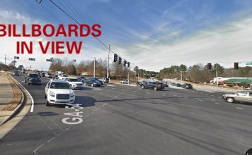 Google view of Ga. Highway 54 West heading toward the railroad overpass.