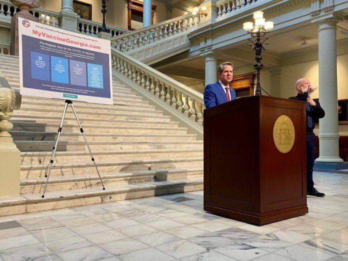 Gov. Brian Kemp unveiled plans to vaccinate Georgia school teachers in a speech at the state Capitol on Feb. 25, 2021. Photo/Beau Evans.