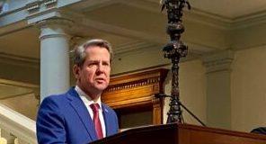 Georgia Gov. Brian Kemp speaking at the state Capitol.