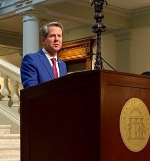 Georgia Gov. Brian Kemp speaking at the state Capitol.