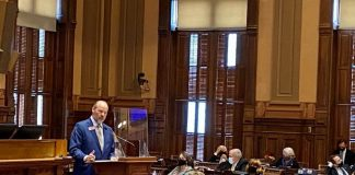 State Rep. Barry Fleming, R-Harlem, pitches his bill proposing broad changes to Georgia's voting system, particularly for absentee voting, on March 1, 2021. Photo/Beau Evans.