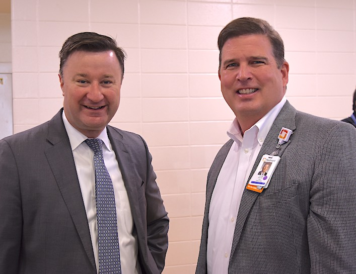 <b>On site for the mass Covid vaccination event were Fayette County School Superintendent Dr. Jonathan Patterson (L) and Piedmont Fayette Hospital CEO Steve Porter, who both took off their masks for less than a minute to allow a photograph. Photo/Cal Beverly.</b>