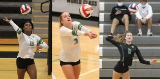 McIntosh High's Ngozi Iloh, Claire Lewis, and Alexa Markley are among 100 players around the country named All-Americans by PrepVolleyball.com. Photos/Fayette County School System.