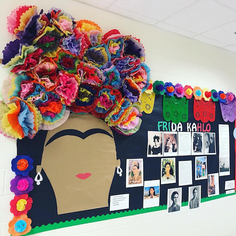 One board is dedicated solely to artist Frida Kahlo celebrating her art, talent, struggles, and how she overcame all situations in life to become an icon. Photo/Fayette County School System.