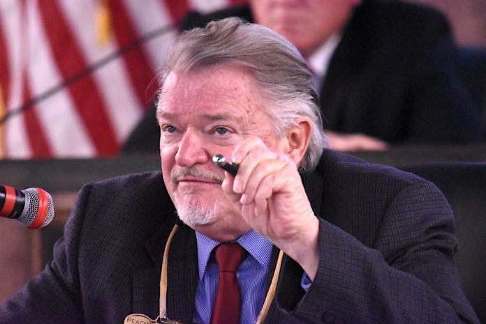 Peachtree City Councilman Kevin Madden makes a point during the April 1 council meeting. Photo/Cal Beverly.