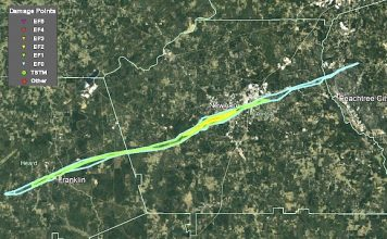 The track of the destructive tornado that struck 3 counties near and after midnight March 25 and 26. Radar track provided by the National Weather Service.