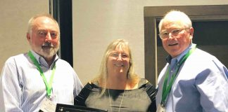Pictured left to right, Bart Ladd, CAAG President; Mrs. Elaine Powers; Bruce Widener, CAAG executive director. Photo/Submitted.