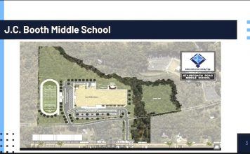 Drawing shows the Booth Middle School replacement campus on the eastern border of Peachtree City. Graphic/Fayette County School System.