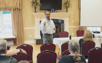 Fayette FACTOR Project Manager Michael Mumper speaks to a community gathering. Photo/Fayette FACTOR website.