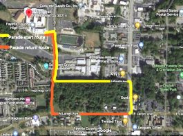 The Saturday parade route in Fayetteville to kick off the county's 200th birthday celebration. Graphic/Fayette County Historical Society.