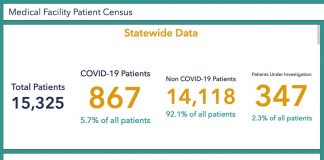 A chart that at pandemic peak showed more than 33% of all people hospitalized in Georgia were being treated for Covid-19 infections has now recorded fewer than 6% of all patients as having the coronavirus in the middle of May 2021. Chart from data provided by the Georgia Department of Public Health.