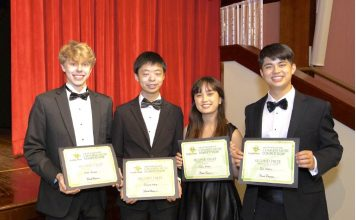 Holding their awards are (L-R) Lucas Nyman, Richard Yang, Jodie Stone, Didi Stone. Photo/Submitted.