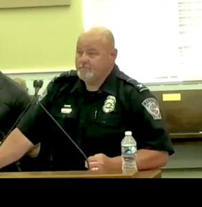 <b>Fayetteville Police Chief Scott Gray addresses City Council.</b>