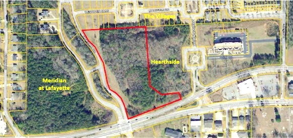 <b>8-acre rezoning site is outlined in red. It lies directly across from the one-way splits of Ga. Highway 54, just east of Grady Avenue. Graphic/City of Fayetteville.</b>