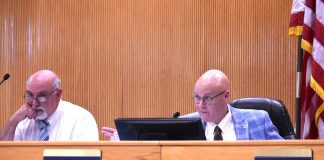 """Fayette County commissioners Eric Maxwell (L) and Edward """"Edge"""" Gibbons at June 10, 2021 meeting. Photo/Cal Beverly."""