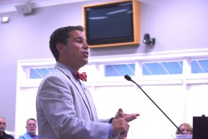 <b>Fayette State Court Judge Jason Thompson speaks to the Fayette County Commission June 10, 2021. Photo/Cal Beverly.</b>