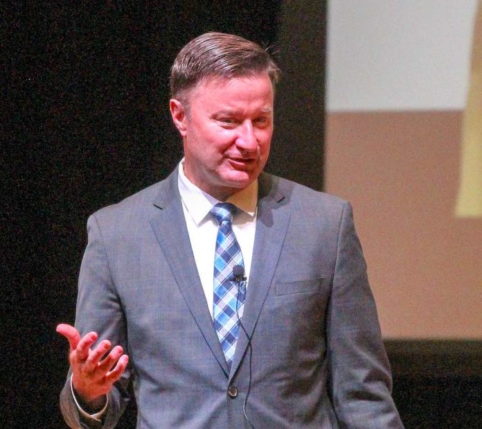 Fayette School Superintendent Dr. Jonathan Patterson speaks to the system's leadership team. Photo/Chris Dunn.
