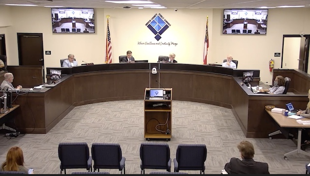 Fayette County Board of Education at July 26 meeting. (L-R) At dais, Randy Hough, Brian Anderson, Superintendent Dr.Jonathan S. Patterson, Chairman Scott Hollowell, Roy Rabold and Leonard Presberg. Photo from BoE website.