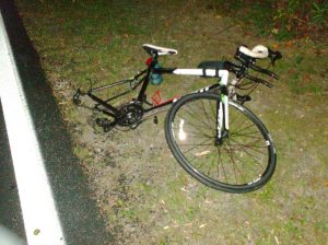 Police photo of Snyder's bicycle following the collision.