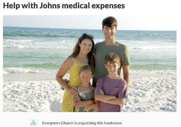 Photo of cyclist John Snyder, his wife and children from a GoFundMe page set up by the Snyder's church.
