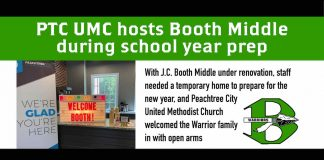 With J.C. Booth Middle under renovation, staff needed a temporary home to prepare for the new school year, and Peachtree City United Methodist Church welcomed the Warrior family in with open arms. Graphic/Fayette County School System.