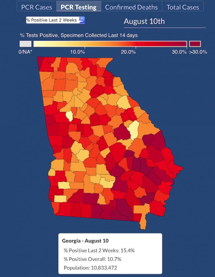 Fayette County south of Atlanta and Jefferson County south of Augusta are depicted as having test-confirmed infection rates of under 5%. Graphic/DPH