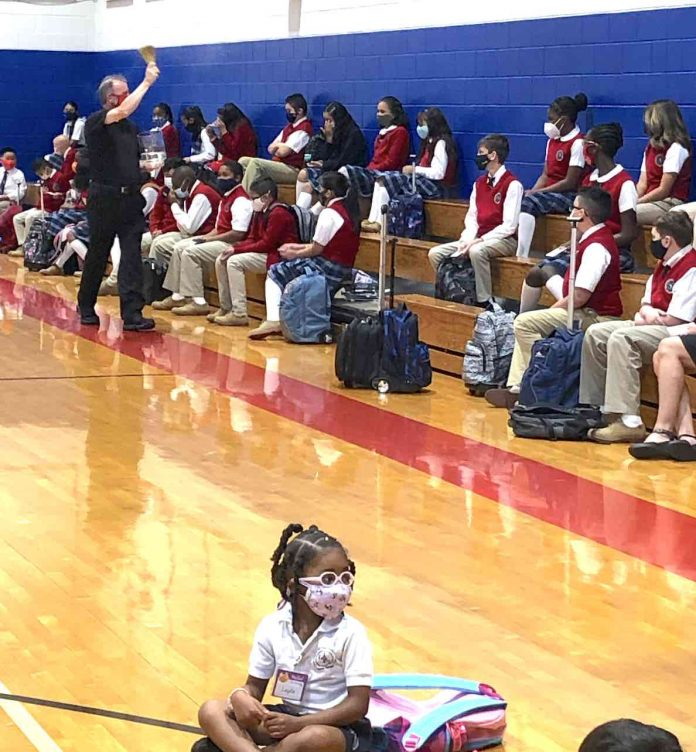 Students were assembled for prayer and a blessing from Father John Koziol and Father Kevin Hargaden. Fr. Hargaden blessed all the students, staff, and families. Photo/Submitted.
