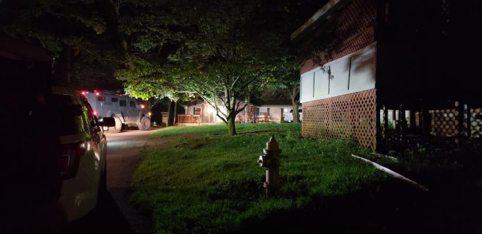 Law enforcement presence was heavy in Shiloh Mobile Home Park Thursday night. Photo/Fayette County Sheriff's Department.