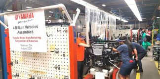 Assemblers put the finishing touches on the 4 millionth vehicle to come off the line at the Yamaha plant in Newnan. Photo/Submitted.