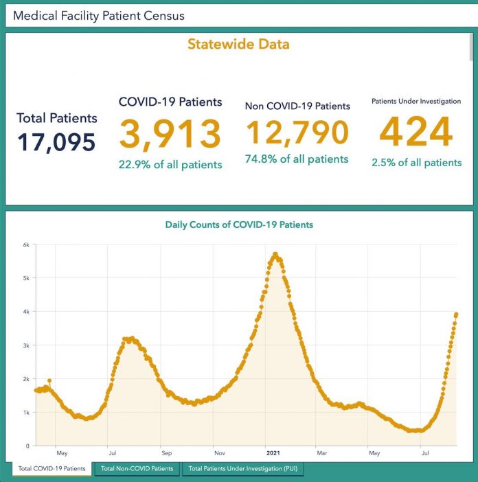 Statewide dats from hospitals and medical facilities show that almost 23% of all hospitalized patients are Covid-positive. Another 2.5% are being checks for Covid. That brings the Covid-related hospital patients to 1 out of every 4 patients. Aug. 17 graphic/Ga. DPH.