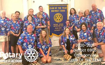 Peachtree City Rotary Club members celebrate winning Club of the Year award. Photo/Submitted.