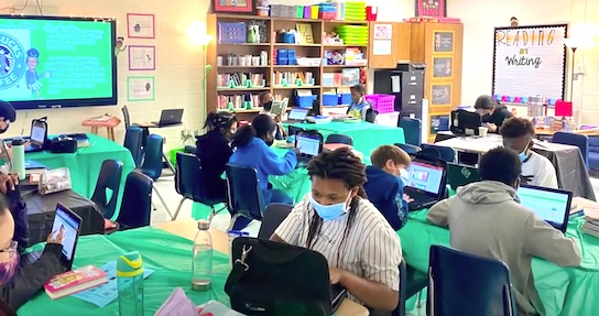 Inside a Fayette classroom with the students masked. Photo/Fayette County School System.