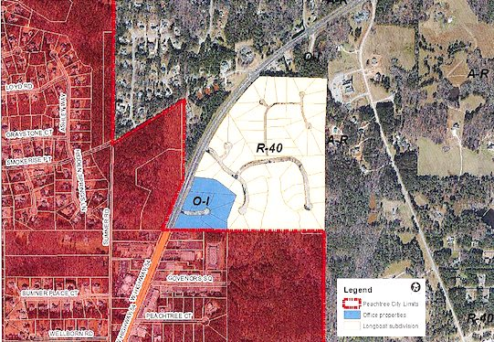 Fayette County zoning of the area to be annexed. Graphic/City of Peachtree City.