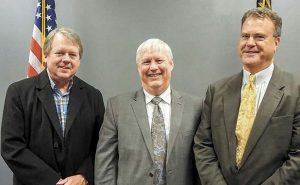 The three current Griffin Judicial Circuit superior court judges are shown in a photo from 2016. (L-R) Judges Fletcher Sams, Charles Ballard and Christopher Edwards. Photo/Submitted.