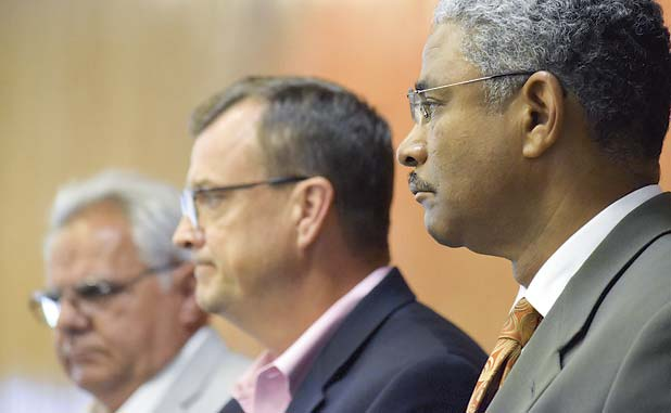Fayette County commissioners (L-R) Randy Ognio, Steve Brown and Charles Rousseau in file photo.